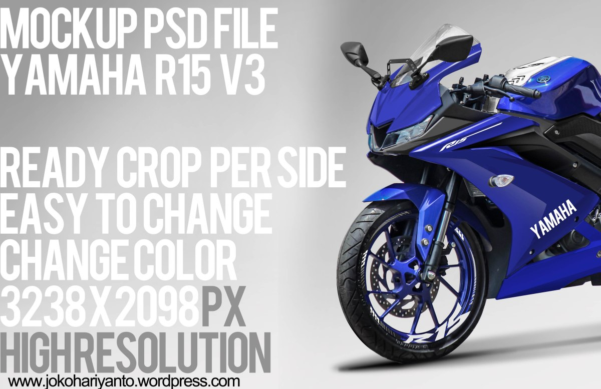 Free Download Mockup PSD File Motor Yamaha R15 V3 ready crop untuk latihan belajar editing di photoshop